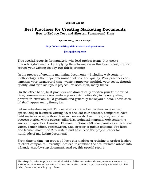 Special Report     Best Practices for Creating Marketing Documents              How to Reduce Cost and Shorten Turnaround ...