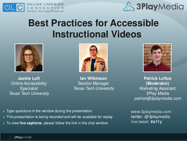 Best Practices For Accessible Instructional Videos