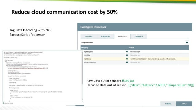 18 Reduce cloud communication cost by 50% Tag Data Decoding with NiFi ExecuteScript Processor Raw Data out of sensor : ff1...
