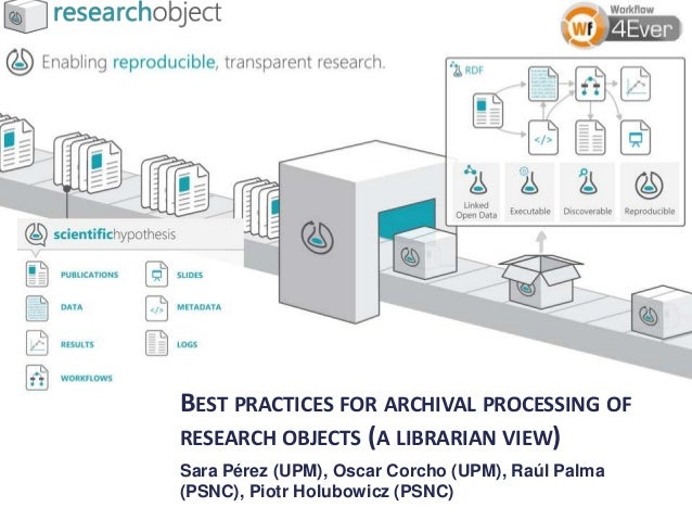 BEST PRACTICES FOR ARCHIVAL PROCESSING OF RESEARCH OBJECTS (A LIBRARIAN VIEW) Sara Pérez (UPM), Oscar Corcho (UPM), Raúl P...