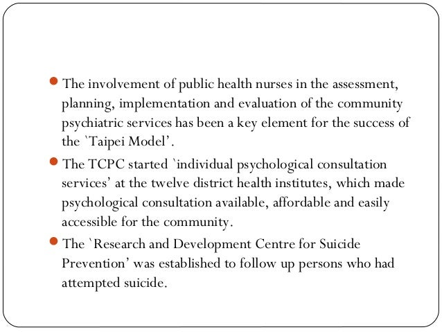 The involvement of public health nurses in the assessment, planning, implementation and evaluation of the community psych...