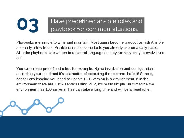 03 Have predefined ansible roles and playbook for common situations. Playbooksaresimpletowriteandmaintain.Mostuser...