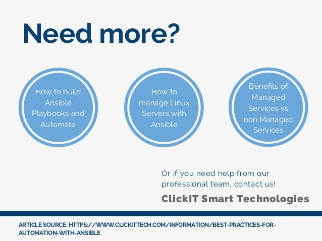 Need more? Or if you need help from our professional team, contact us! ARTICLE SOURCE: HTTPS://WWW.CLICKITTECH.COM/INFORMA...