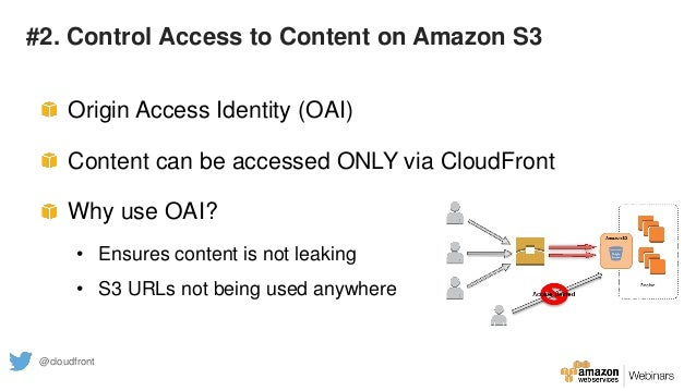 #2. Control Access to Content on Amazon S3 Origin Access Identity (OAI) Content can be accessed ONLY via CloudFront Why us...