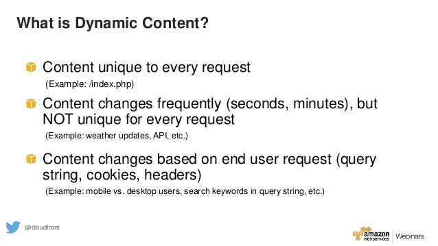 What is Dynamic Content? Content unique to every request (Example: /index.php) Content changes frequently (seconds, minute...