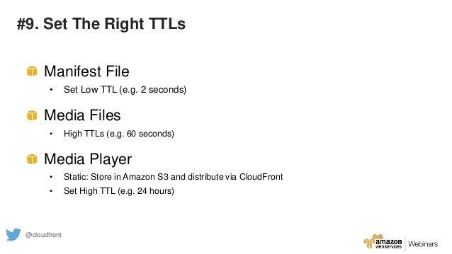 #9. Set The Right TTLs Manifest File • Set Low TTL (e.g. 2 seconds) Media Files • High TTLs (e.g. 60 seconds) Media Player...