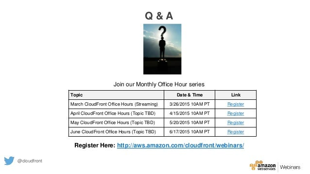 Join our Monthly Office Hour series Register Here: http://aws.amazon.com/cloudfront/webinars/ Topic Date & Time Link March...