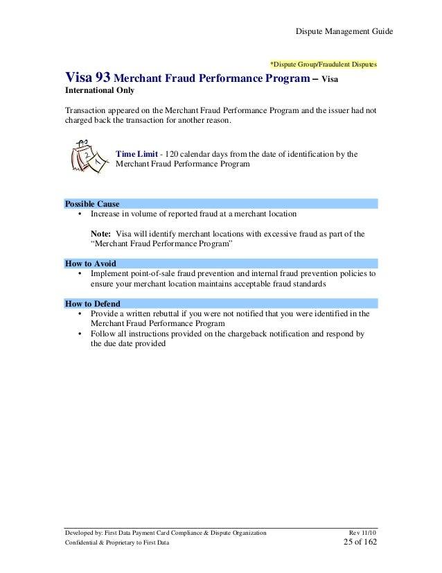 Dispute Management Guide  *Dispute Group/Fraudulent Disputes  Visa 93 Merchant Fraud Performance Program – Visa Internatio...