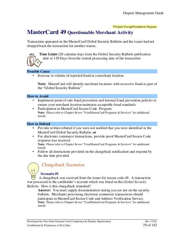 Dispute Management Guide  *Dispute Group/Fraudulent Disputes  MasterCard 49 Questionable Merchant Activity Transaction app...