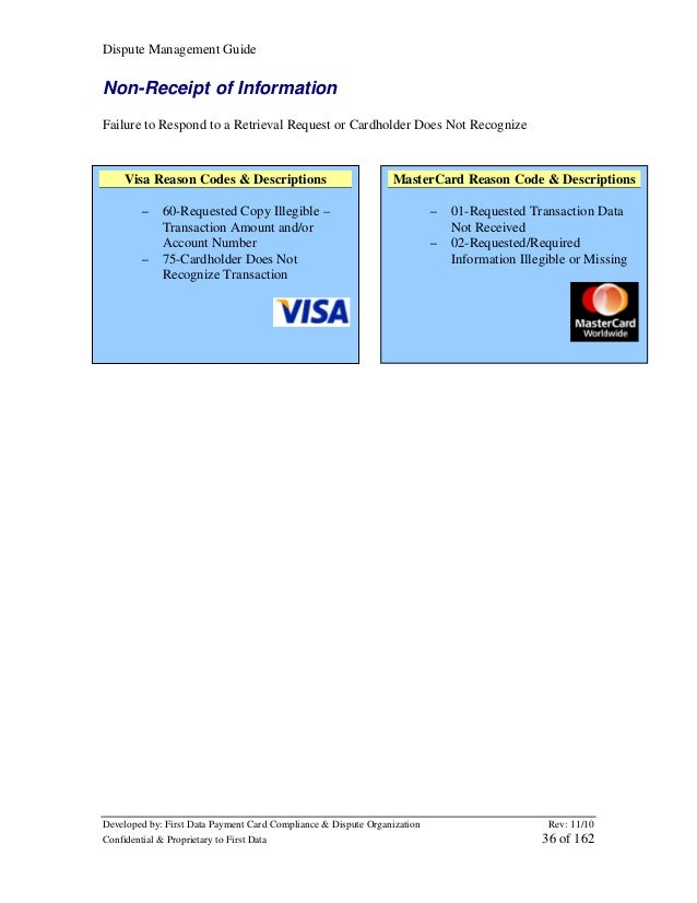 Dispute Management Guide  Non-Receipt of Information Failure to Respond to a Retrieval Request or Cardholder Does Not Reco...