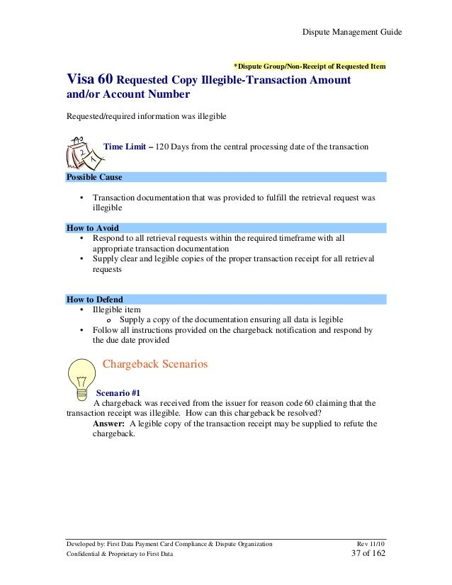 Dispute Management Guide  *Dispute Group/Non-Receipt of Requested Item  Visa 60 Requested Copy Illegible-Transaction Amoun...