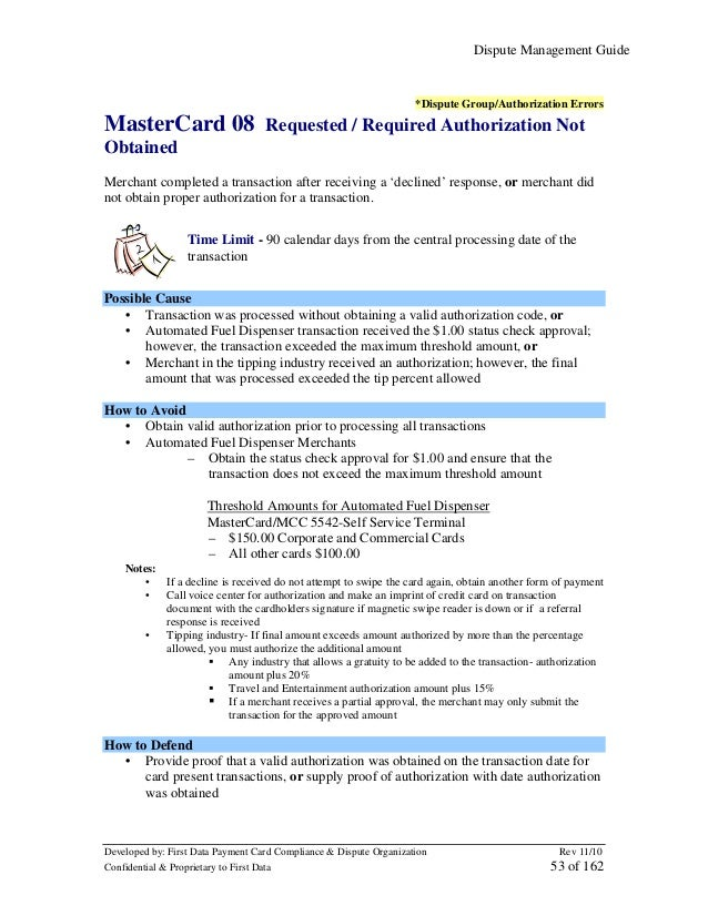 Dispute Management Guide  *Dispute Group/Authorization Errors  MasterCard 08  Requested / Required Authorization Not  Obta...