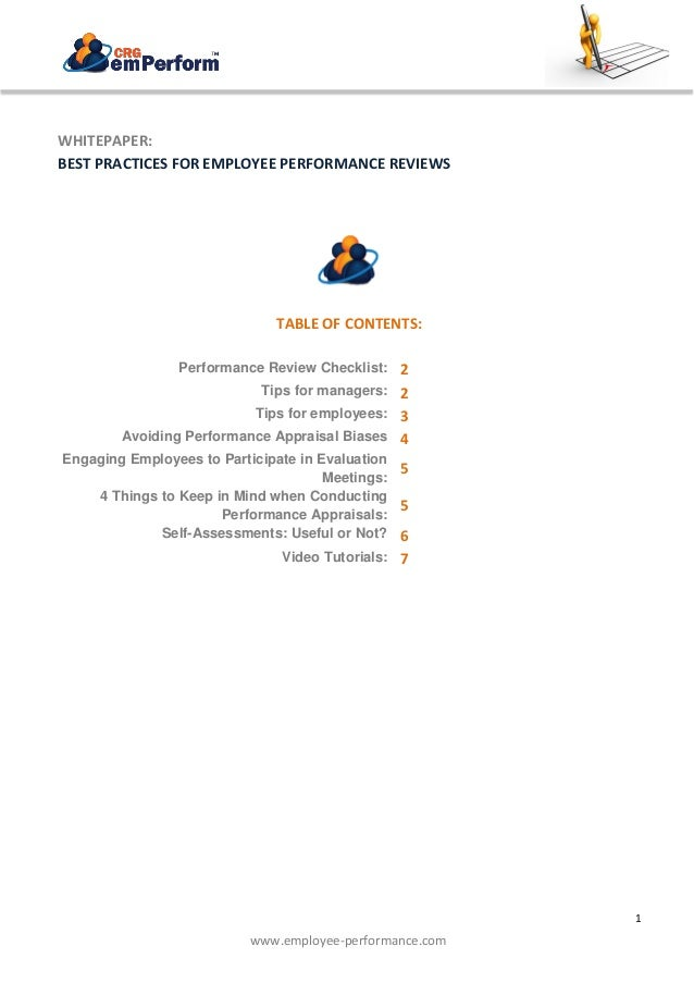 1 BEST PRACTICES FOR EMPLOYEE PERFORMANCE REVIEWS www.employee-performance.com WHITEPAPER: BEST PRACTICES FOR EMPLOYEE PER...