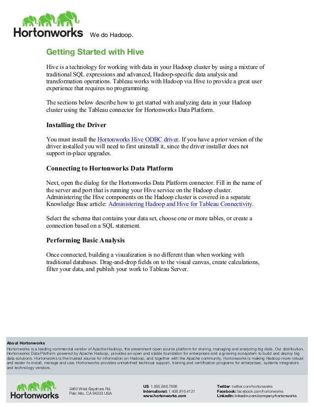 Best Practices for Hadoop Data Analysis with Tableau and