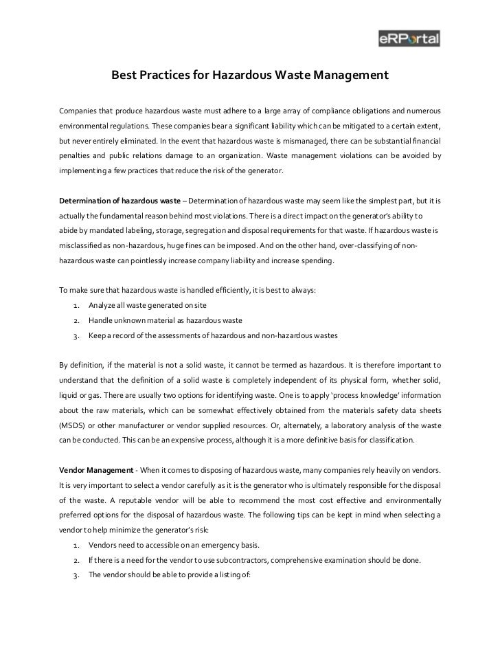 Best Practices for Hazardous Waste ManagementCompanies that produce hazardous waste must adhere to a large array of compli...