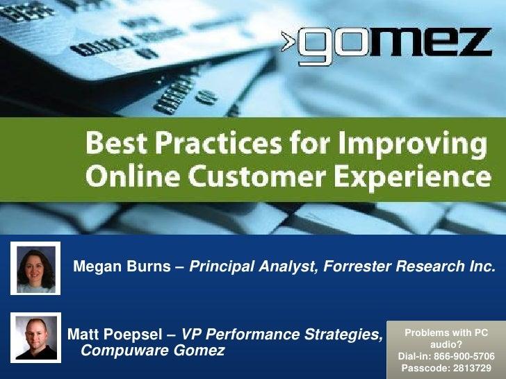 Megan Burns – Principal Analyst, Forrester Research Inc.Matt Poepsel – VP Performance Strategies,    Problems with PC     ...