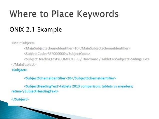 Best practices for keywords in book metadata