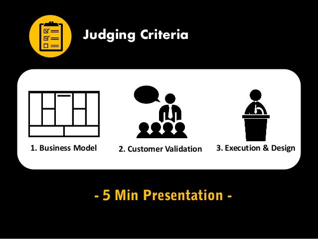 1. Business Model 2. Customer Validation 3. Execution & Design Judging Criteria - 5 Min Presentation -