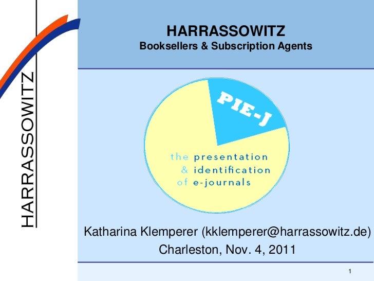 HARRASSOWITZ         Booksellers & Subscription AgentsKatharina Klemperer (kklemperer@harrassowitz.de)             Charles...