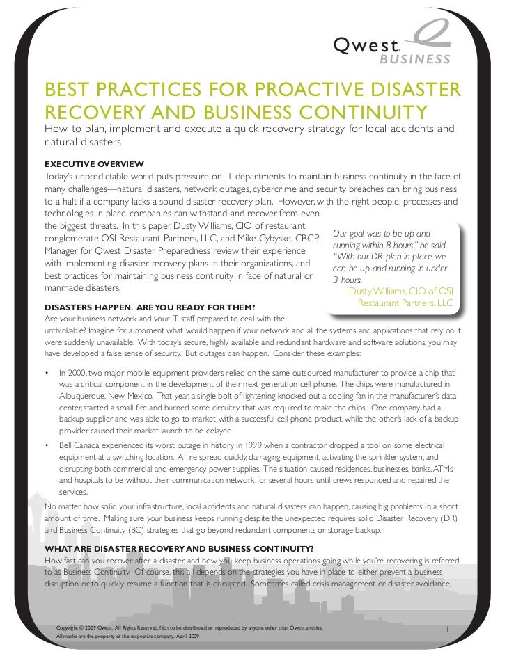 Best PRACtiCes foR PRoACtive disAsteRReCoveRy ANd BusiNess CoNtiNuityHow to plan, implement and execute a quick recovery s...