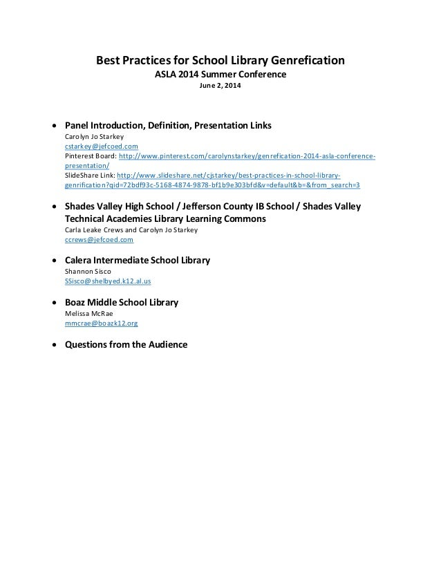 Best Practices for School Library Genrefication  ASLA 2014 Summer Conference  June 2, 2014        • Panel Introduction, De...