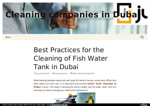 Best practices for the cleaning of fish water tank in dubai for Best water for fish tank