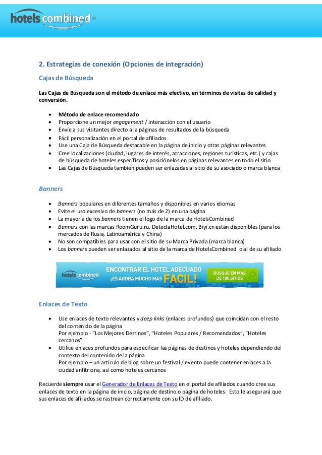 Consejos y practicas del programa de afiliados Hotelscombined.com Slide 3