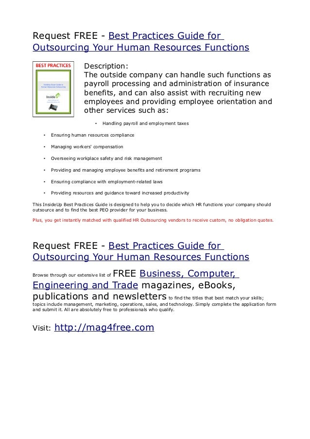Request FREE - Best Practices Guide forOutsourcing Your Human Resources Functions                       Description:      ...