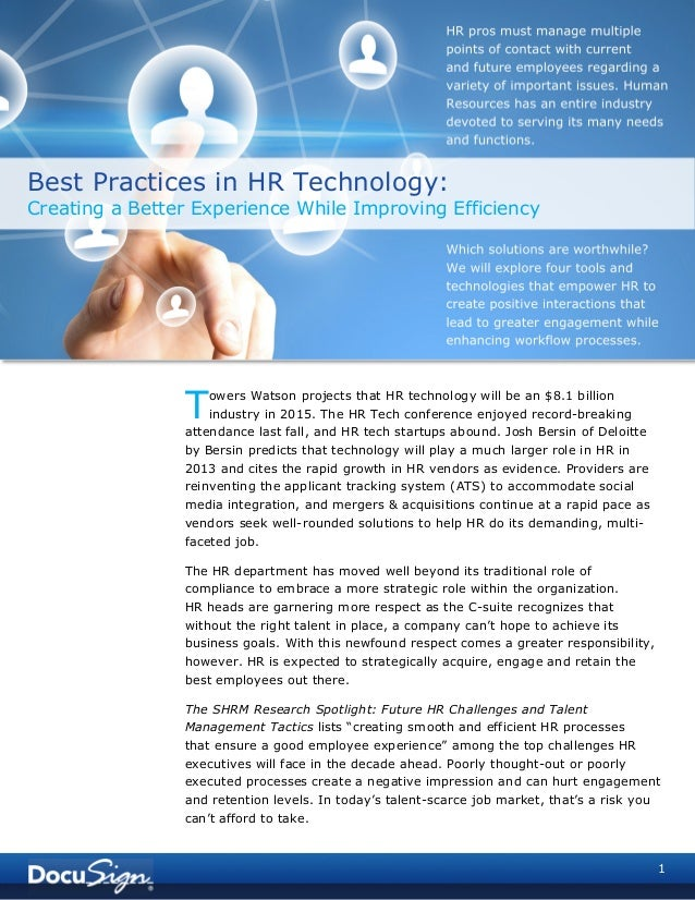 1owers Watson projects that HR technology will be an $8.1 billionindustry in 2015. The HR Tech conference enjoyed record-b...
