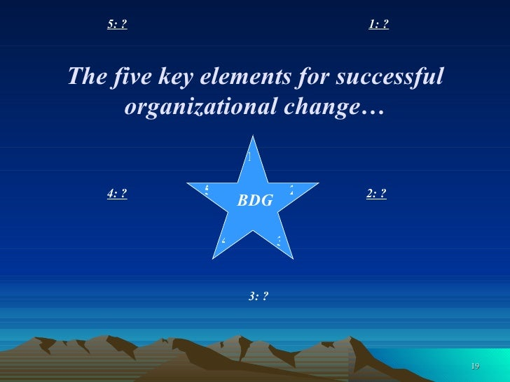 1: ? 2: ?   3: ? 4: ? 5: ? BDG 2 3 4 5 The five key elements for successful organizational change… 1