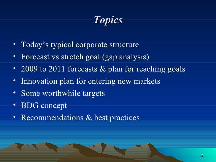 Topics <ul><li>Today's typical corporate structure </li></ul><ul><li>Forecast vs stretch goal (gap analysis) </li></ul><ul...