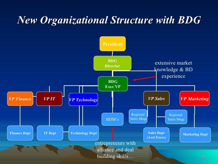 New Organizational Structure with BDG President VP Finance VP IT VP Technology VP Sales Finance Dept IT Dept Technology De...