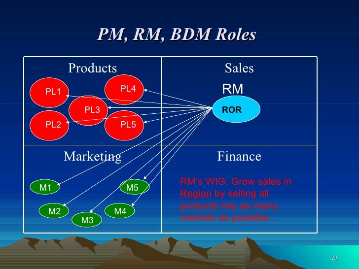 PM, RM, BDM Roles   PL3 M1 M2 M3 M4 M5 ROR PL5 PL2 PL1 PL4 RM RM's WIG: Grow sales in  Region  by selling all products int...