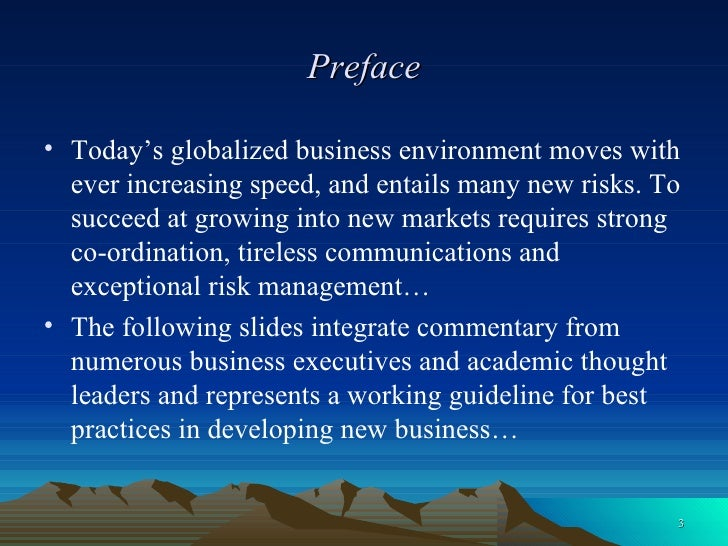 Preface <ul><li>Today's globalized business environment moves with ever increasing speed, and entails many new risks. To s...