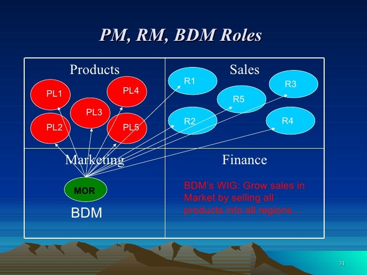 PM, RM, BDM Roles   PL3 MOR PL5 PL2 PL1 PL4 R2 R1 R3 R4 R5 BDM BDM's WIG: Grow sales in Market by selling all  products in...