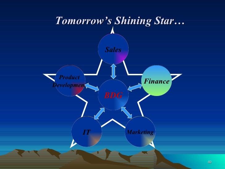 Tomorrow's Shining Star… Product  Development  IT Marketing Finance Sales BDG