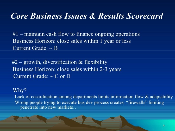 Core Business Issues & Results Scorecard <ul><li>#1 – maintain cash flow to finance ongoing operations </li></ul><ul><li>B...