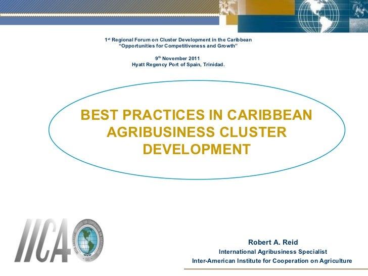 BEST PRACTICES IN CARIBBEAN AGRIBUSINESS CLUSTER DEVELOPMENT Robert A. Reid International Agribusiness Specialist Inter-Am...