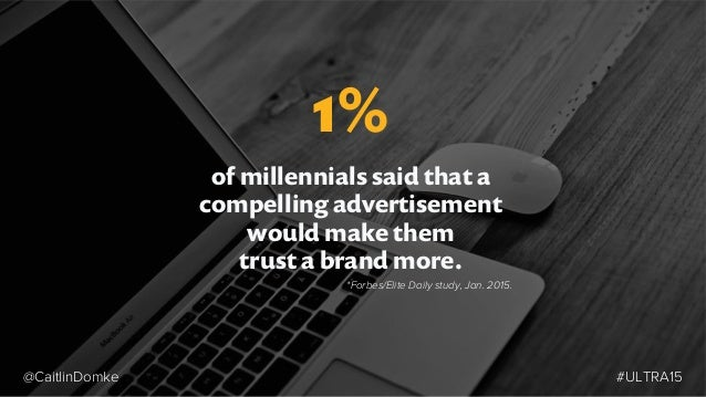 of millennials said that a compelling advertisement would make them trust a brand more. 1% *Forbes/Elite Daily study, Jan....