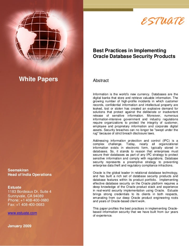 Best Practices in Implementing                            Oracle Database Security Products      White Papers          Abs...