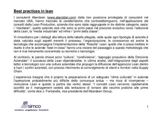 Best practices in leanI consulenti Aberdeen (www.aberdden.com) dalla loro posizione privilegiata di consulenti nelmercato ...