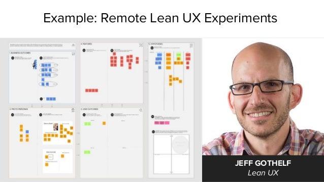 Example: Remote Lean UX Experiments JEFF GOTHELF Lean UX