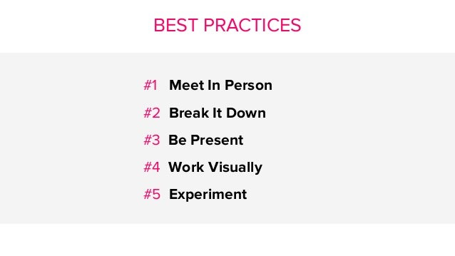BEST PRACTICES #1 Meet In Person #2 Break It Down #3 Be Present #4 Work Visually #5 Experiment