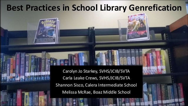 Best Practices in School Library Genrefication Carolyn Jo Starkey, SVHS/JCIB/SVTA Carla Leake Crews, SVHS/JCIB/SVTA Shanno...
