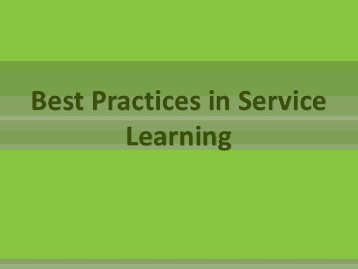 Best Practices in Service Learning<br />