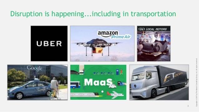 3 Copyright©2017byTheBostonConsultingGroup,Inc.Allrightsreserved. Disruption is happening...including in transportation