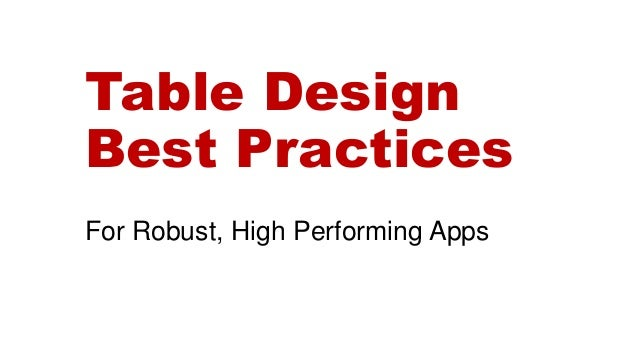 table and database design best practices