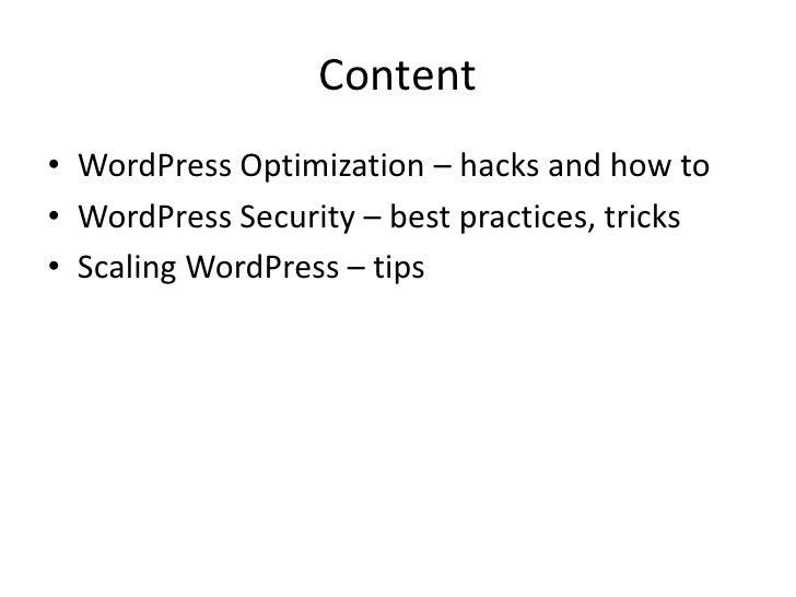 Best Practices on Optimizing, Securing, Scaling WordPress slideshare - 웹