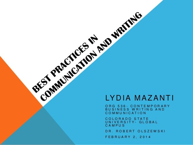 LY D I A M A Z A N T I ORG 536- CONTEMPORARY BUSINESS WRITING AND COMMUNICATION COLORADO STATE U N I V E R S I T Y- G L O ...
