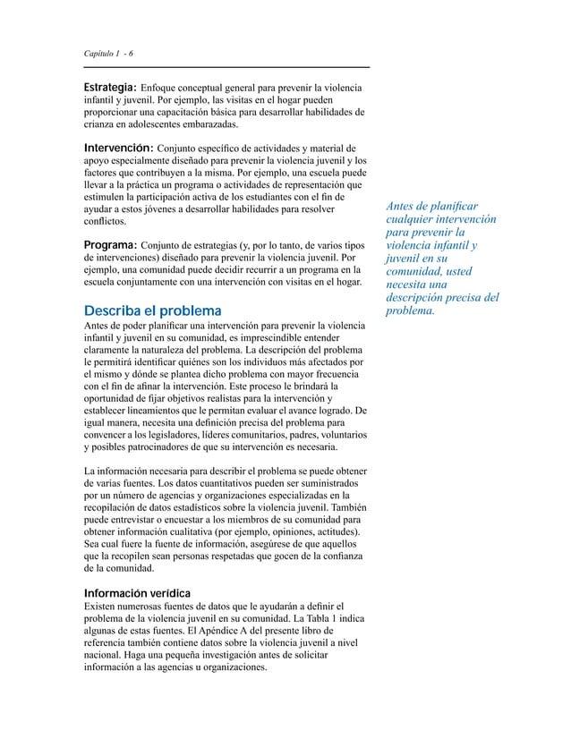 Capítulo 1 - 9  a los jóvenes en situaciones de alto riesgo tanto como las  intervenciones restringidas.  Niños y adolesce...